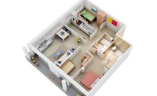 Denah Rumah minimalis 3 kamar ukuran 6x12 3D (tiga dimensi)