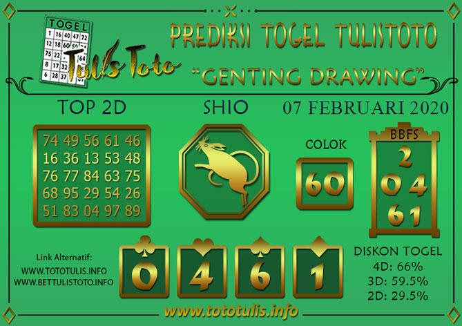 Prediksi Togel GENTING DRAWING TULISTOTO 07 FEBRUARI 2020