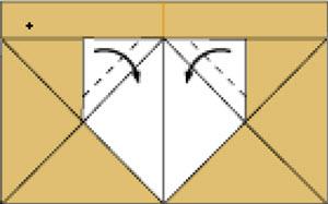 Bước 8: Gấp hai góc lớp giấy trên cùng vào trong hường xuống dưới.