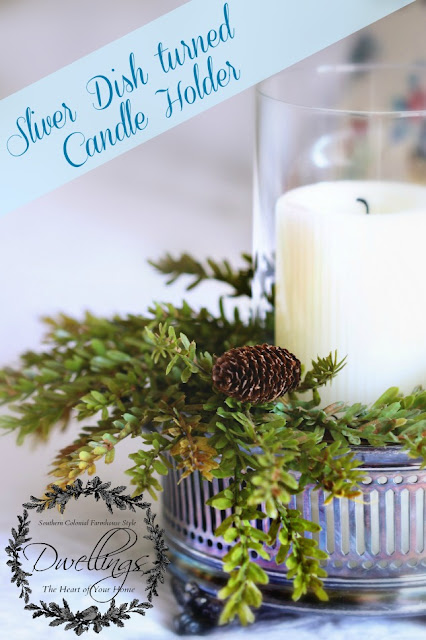 Silver dish and pine cone wreath turned candle holder for the guest room.