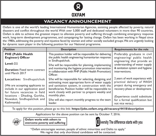 Jobs In Nepal: Job Vacancy Fort Civil Engineer At Oxfam