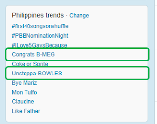 Congrats B-meg and Unstoppa-BOWLES trends on Twitter