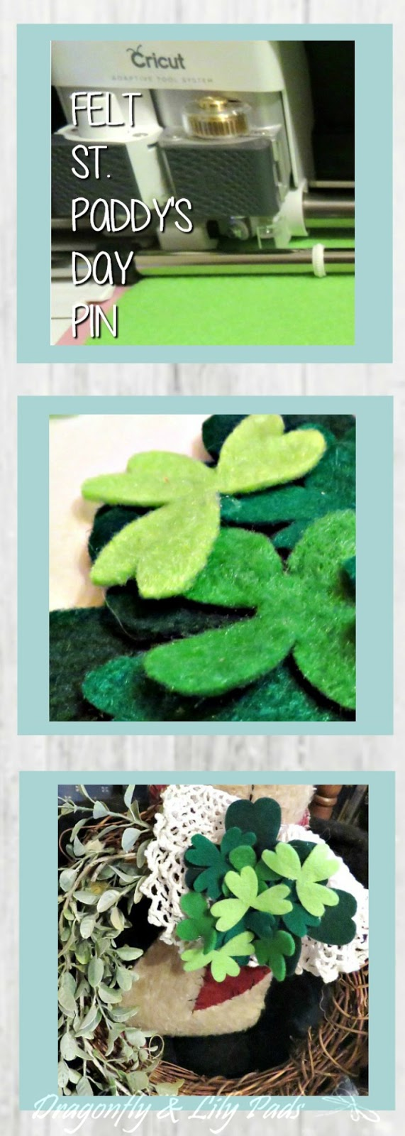 Pinterest Image Strip of Felt St. Paddy's Day Pin. Cricut Maker