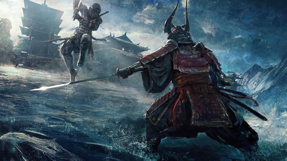 Ninja vs Samurai, Fantasy, Art, 4K, #6.766