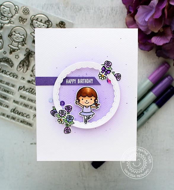 Sunny Studio Stamps: Tiny Dancers Pretty Purple Happy Birthday Ballerina Card by Vanessa Menhorn