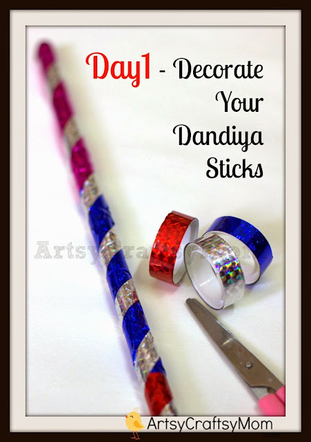 DIY Dandiya stick decoration
