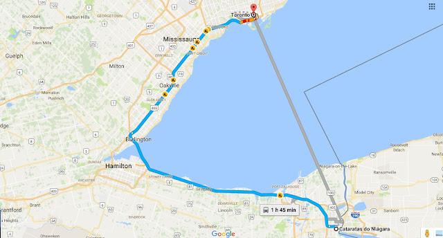 Como ir de Niagara Falls a Toronto de carro