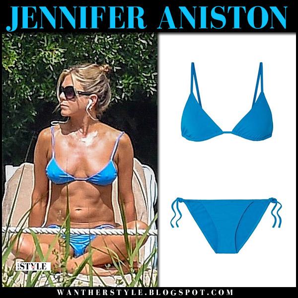 Jennifer Aniston in bright blue eres bikini by the pool beach celebrity style july 23