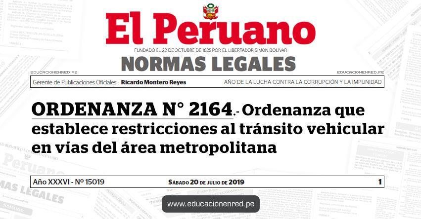 ORDENANZA N° 2164 - Ordenanza que establece restricciones al tránsito vehicular en vías del área metropolitana - www.munlima.gob.pe