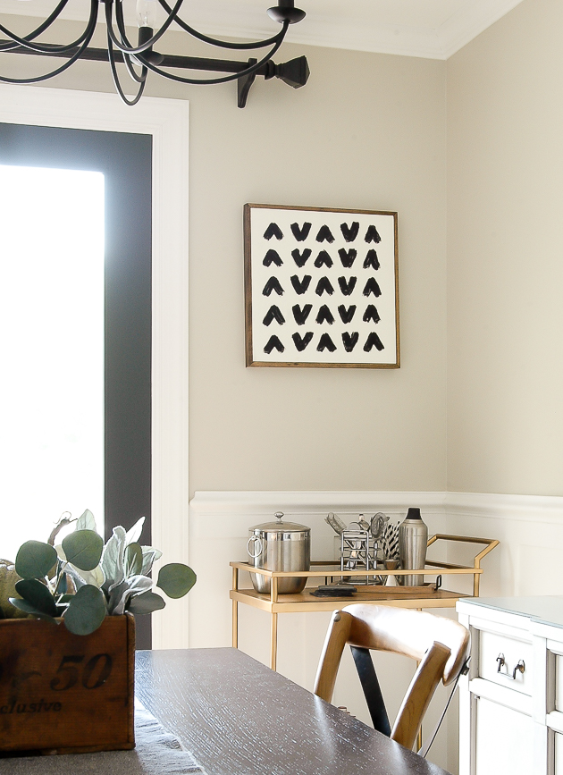 DIY canvas art, repurposing, modern farmhouse, dining room