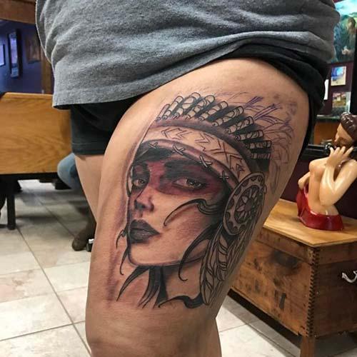 kadın üst bacak kızılderili kız deövmesi woman thigh indian girl tattoo
