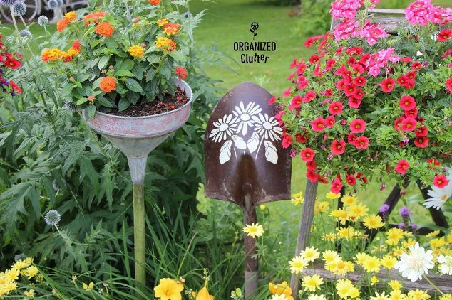 Funnel Planters in the Junk Garden