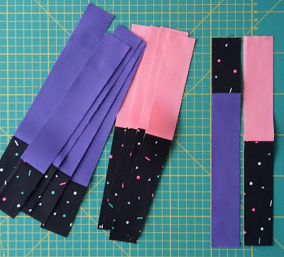 Luna Lovequilts - Neon quilt - Piecing in progress