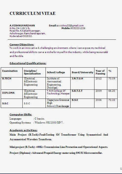 Resume Format For Freshers Engineers Computer Science Pdf Fresher Engineer Resume  Format Free Download Resume Format  Download Resume Formats In Word