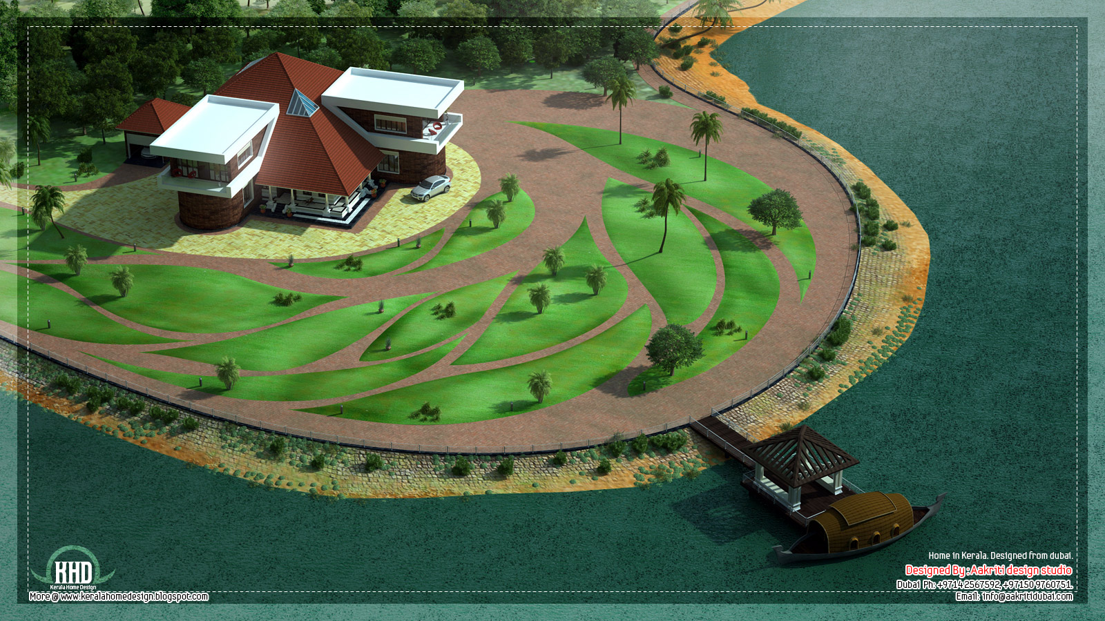 Unique lake side kerala villa elevation kerala home for Pool design in kerala
