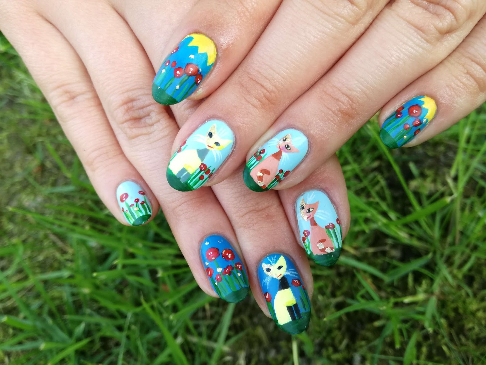cat nail art malinaila