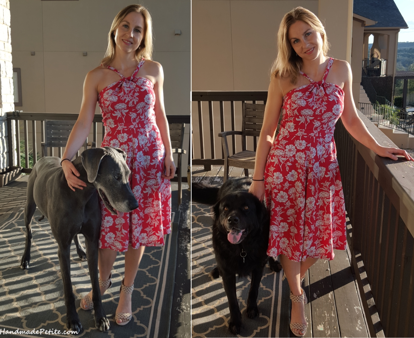 Handmade summer dress posing with my dogs