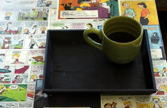 Calvin And Hobbes Coffee Table.Thrifted Table Diy Comic Book Decoupage Coffee Table