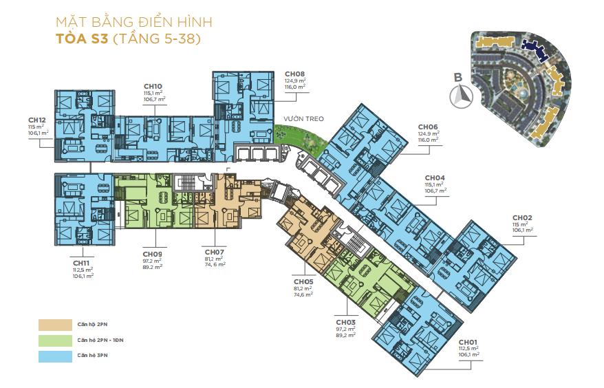 Mặt bằng tầng căn hộ điển hình tầng 5 đến 38