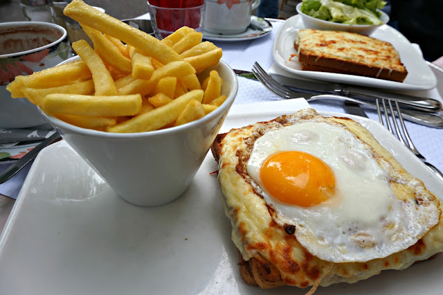 Croque madame and chips