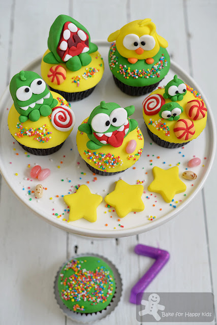 cut the rope om nom chocolate mint cupcakes