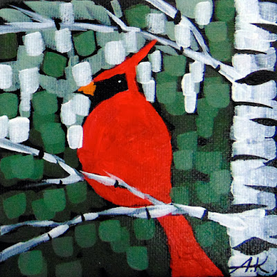 Winter Morning Music No. 2 acrylic birch cardinal painting by artist aaron kloss