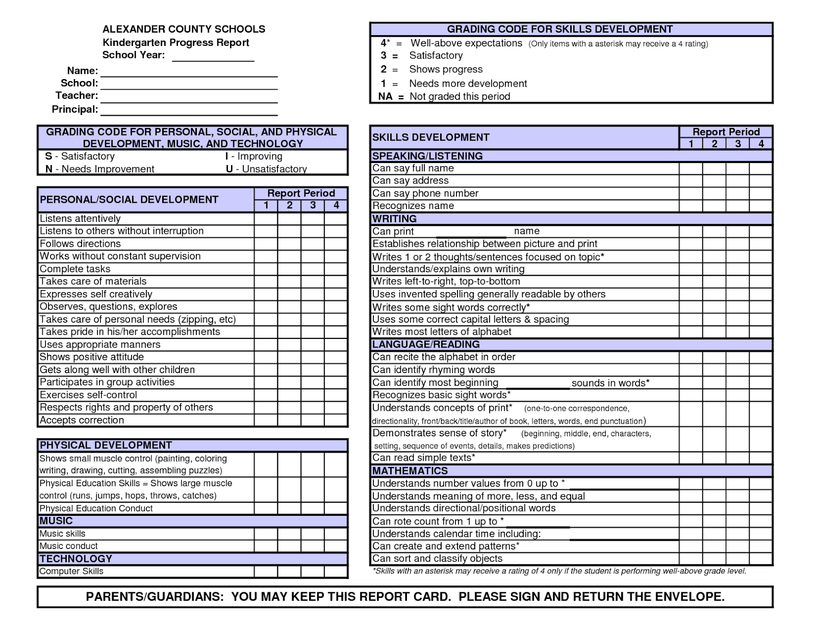 Kindergarten report card templates d templates for Homeschool checklist template