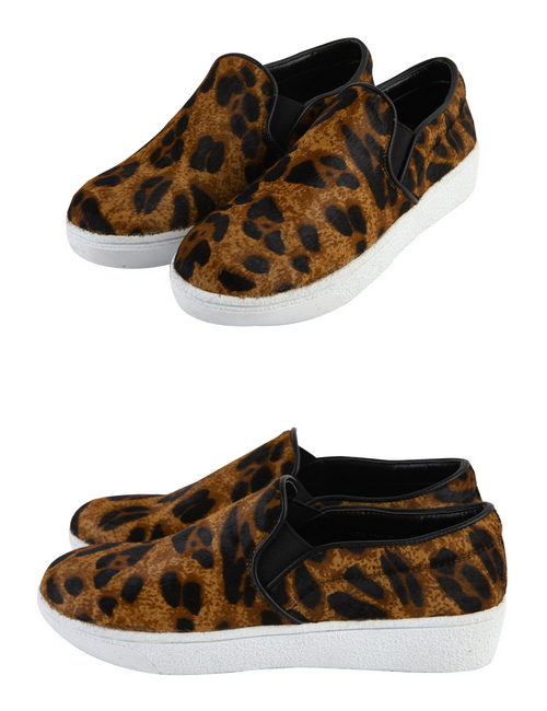 Leopard Cowhide Slip On Sneakers