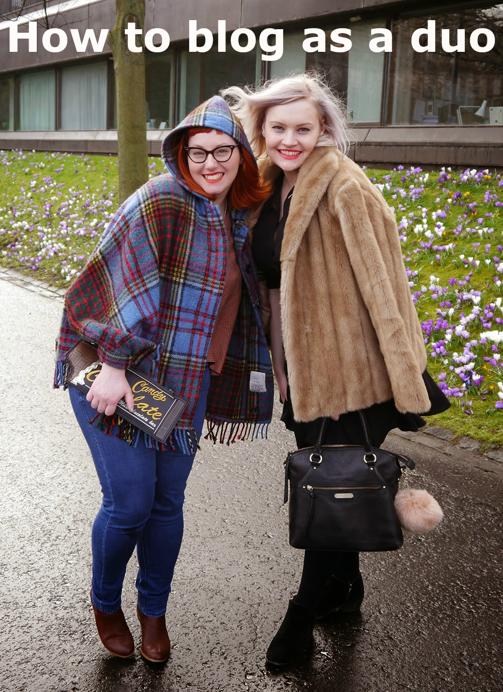 Wardrobe Conversations, blogging duo, scottish bloggers, #scotstreetstyle, Edinburgh Fashion Week, tartan, faux fur, ginger, pastel hair