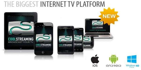 CoolStreaming Live TV; Streaming TV con iOS, smartphone e tablet Android.