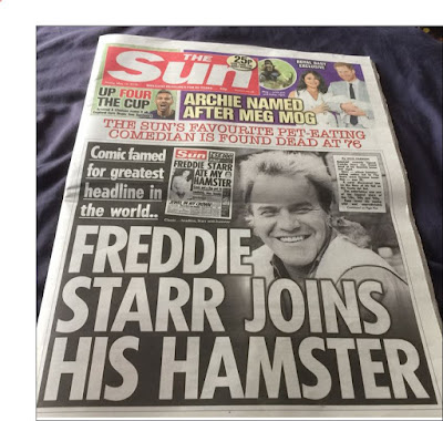 The Sun - Freddie Starr Joins His Hamster Headline