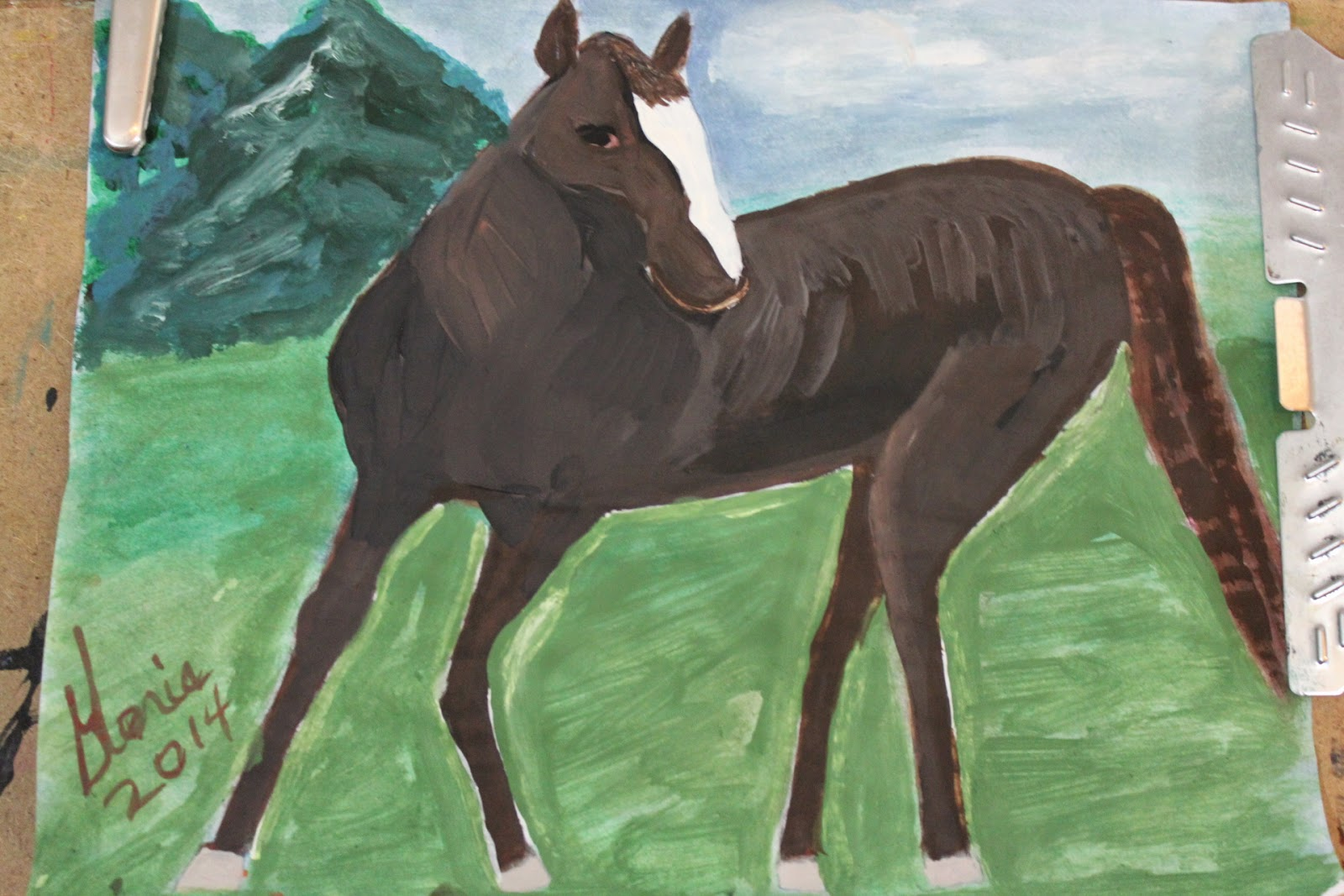 horse in meadow sketch by Gloria Poole of Missouri 23-may 2014