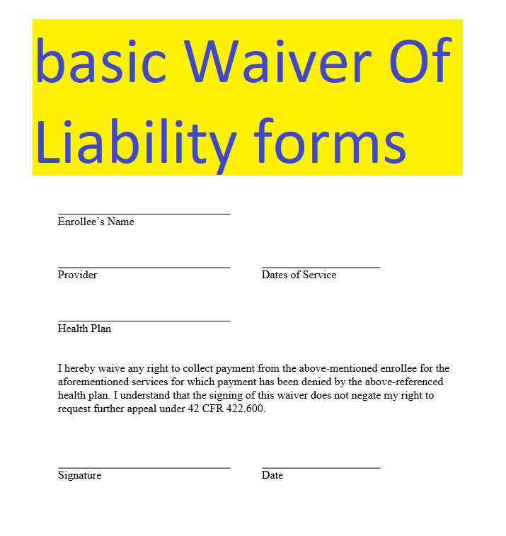 basic Waiver Of Liability form doc and pdf formats Sample Contracts  Contract Templates