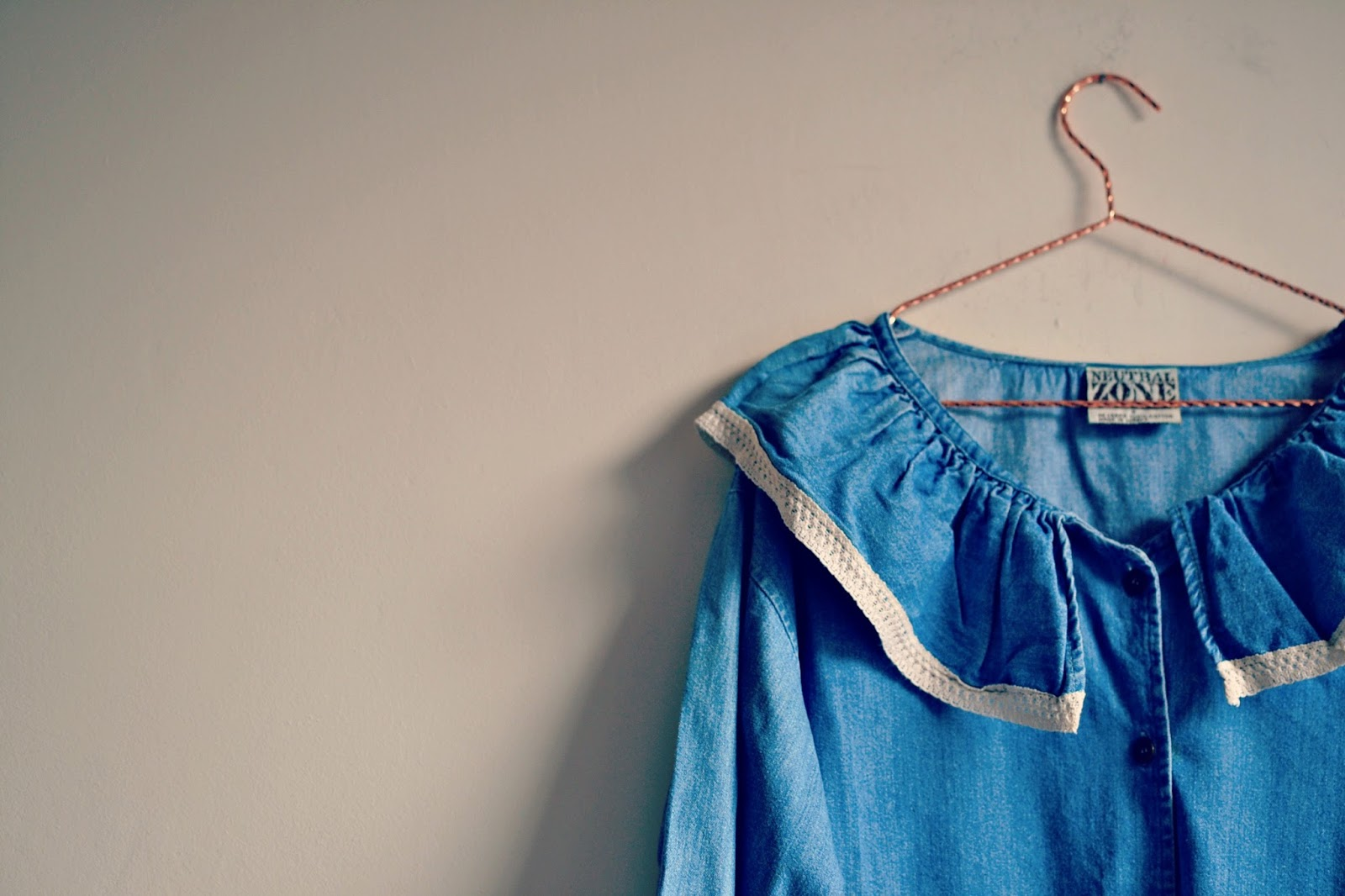 vintage denim ruffle blouse