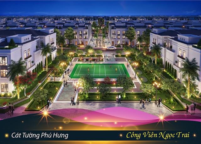 Công viên Ngọc Trai tại dự án đất nền Cát Tường Phú Hưng