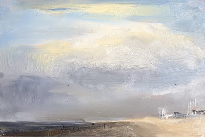 Just before the storm, plein air seascape by Philine van der Vegte
