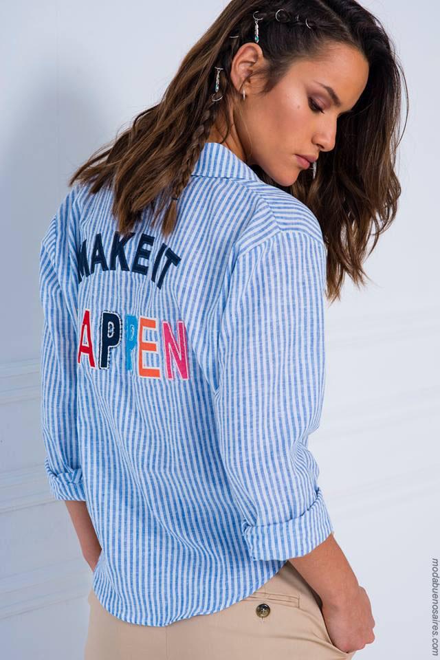 Moda primavera verano 2018 camisas de mujer con estampas.