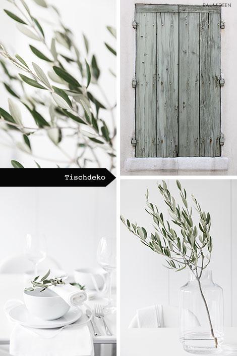 Tischdekoration mit Olivenzweigen.