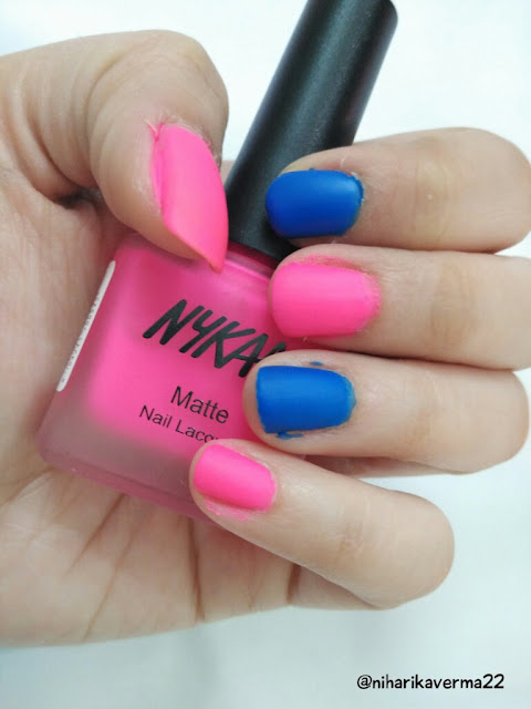 Nykaa's Neon Matte Nail Paints & Matte Lipsticks | New Launch- Maybelline 24 Superstay | SUGAR- It's-A-Pout-time lipstick | Reviews | Swatches 7