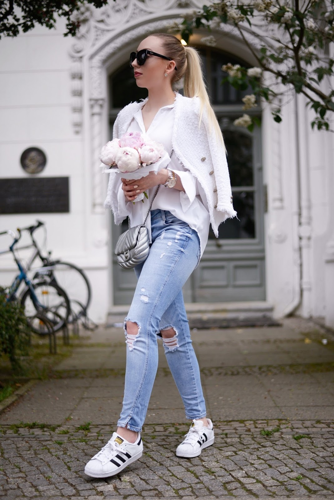 sporty chic outfit with peonies