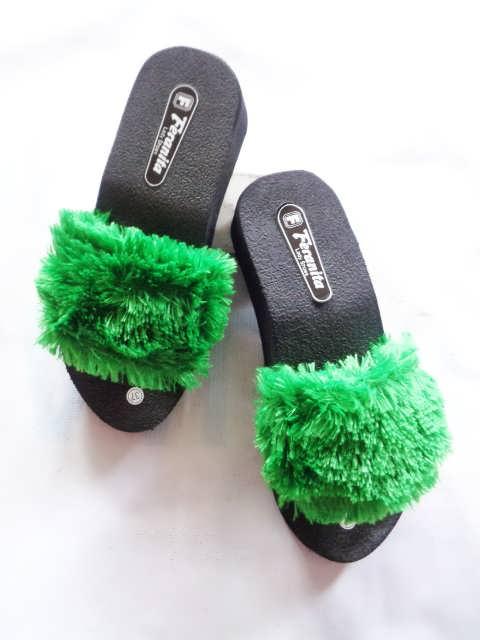 Wedges Slop Bulu Simplek -  Pabrik Sandal Jepit Murah