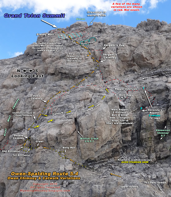 WYOMING WHISKEY: Marked-Up Grand Teton Climbing Route Images
