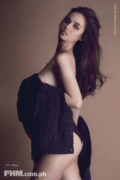 Kim Domingo topless with blue jacket