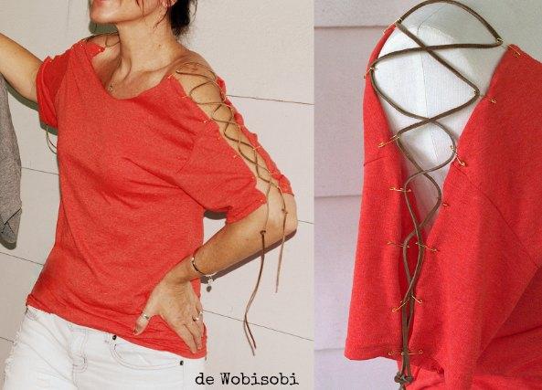 Camiseta mangas personalizadas con imperdibles y cuero