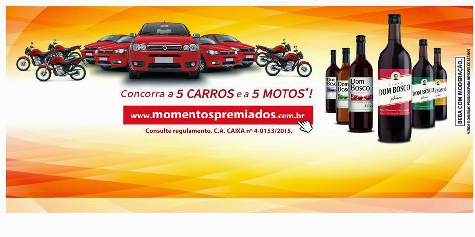 """Promoção Dom Bosco """" Momentos Premiados""""  concorra a 5 carros e 5 motos!"""