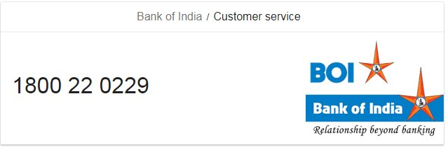 Bank of India Customer Toll Free Care Number and Email ID