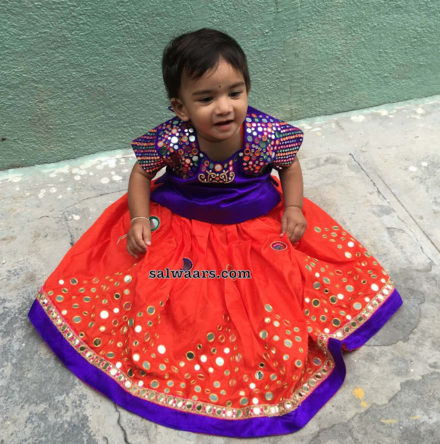 Orange Mirror Lehenga