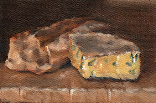 Oil painting of half a baguette beside a quarter piece of blue vein cheese.