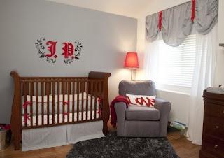 Dormitorio de bebé gris rojo