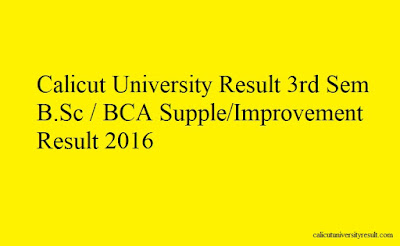 Calicut University Result 3rd Sem B.Sc - BCA Supple-Improvement Result 2016